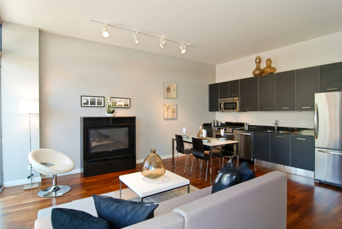 wohnzimmereinrichtung ideen wohnzimmersofa integrierte küche esstisch
