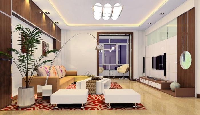 wohnzimmer einrichten weiße hocker pflaze toller teppich