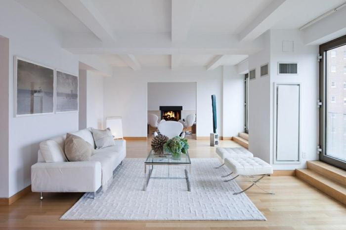 wohnzimmereinrichtung weißer teppich frisch