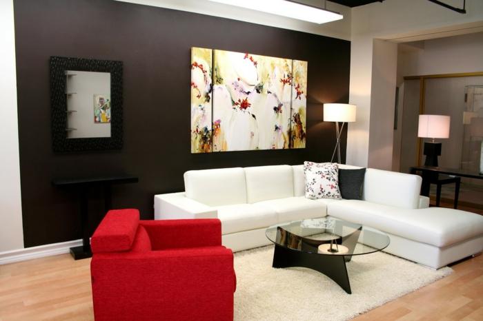 wohnzimmer einrichten ideen weißes ecksofa roter sessel