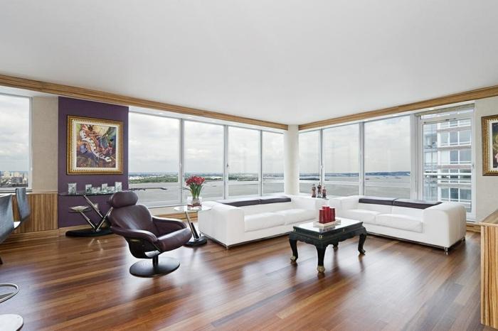wohnzimmereinrichtung weißes sofa elegantes interieur gemälde