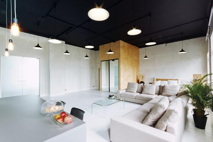 wohnzimmereinrichtungen beispiele weißes sofa schwarze decke pendelleuchten