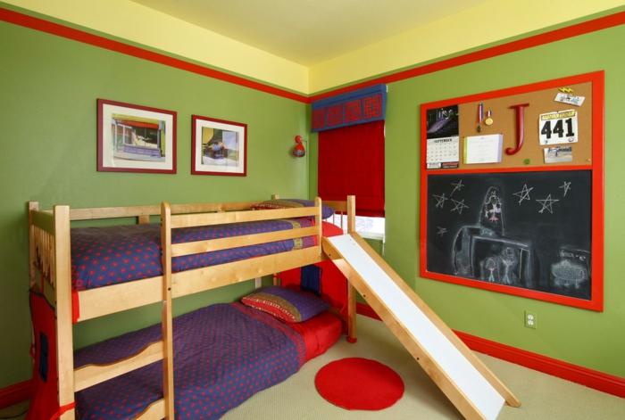zimmerfarben grüne wände kinderzimmer hochbett