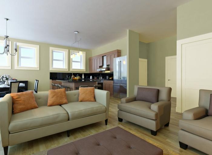 zimmerfarben ideen hellgrünes wohnzimmer orange dekokissen