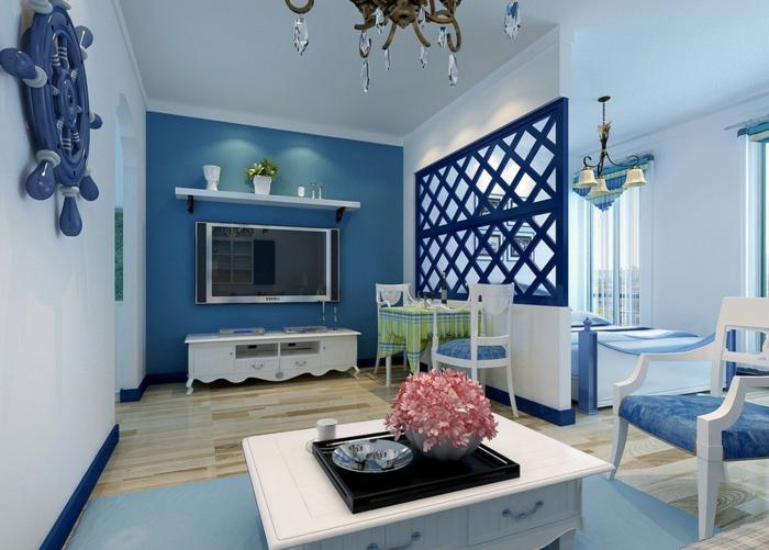 zimmerfarben ideen kleines wohnzimmer blau weiß mediterranisch