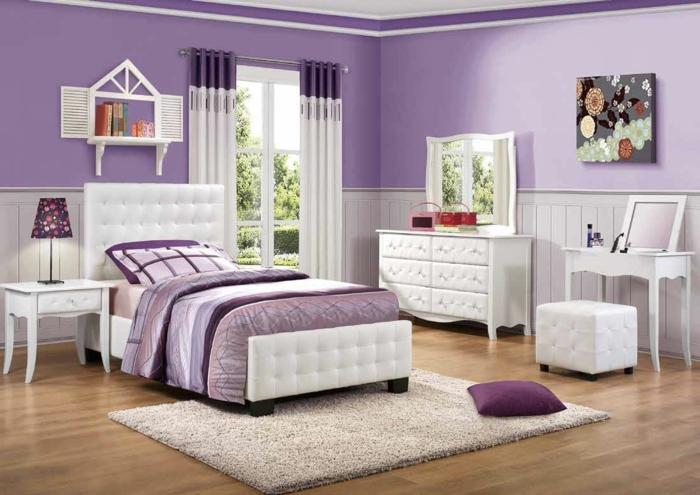 zimmerfarben-ideen-mädchenzimmer-gestalten-lila-wandfarbe-teppich, Moderne deko