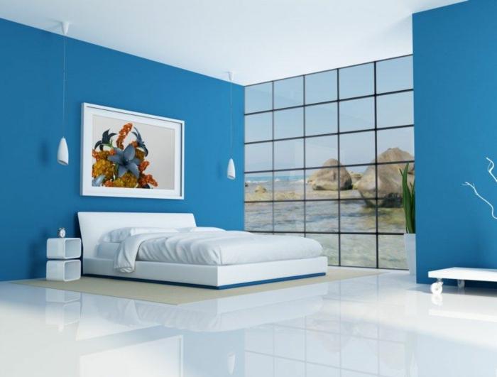 zimmerfarben ideen schlafzimmer blau pendelleuchten