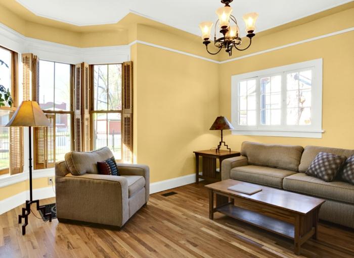 zimmerfarben ideen wohnzimmer hellgelb elegante möbel