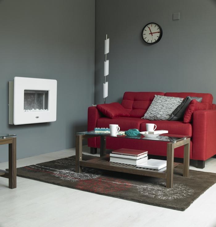 zimmerfarben rotes sofa helllgraue wände wohnzimmer