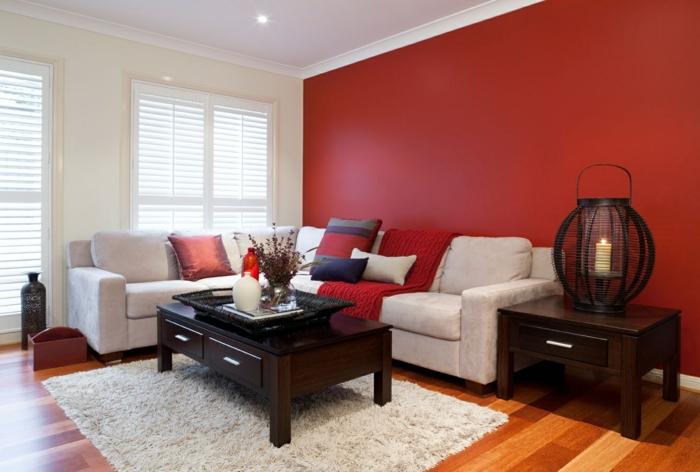 wohnzimmer rote wand:zimmerfarben wohnzimmer weißer teppich rote wand gemütlich