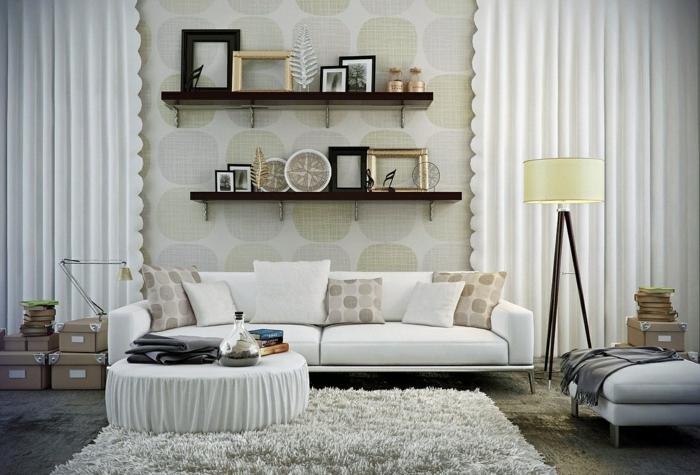 Zimmerfarben Wohnzimmer Einrichtung Ideen Lange Gardinen Weisses Sofa