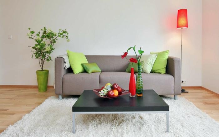 zimmerfarben wohnzimmer einrichtung ideen weißer teppich krasse akzente