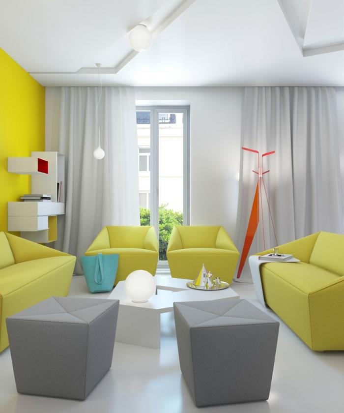 zimmerfarben wohnzimmer gelbe akzetwand ausgefallene möbel