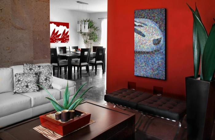 zimmerfarben wohnzimmer rote akzentwand weißes sofa