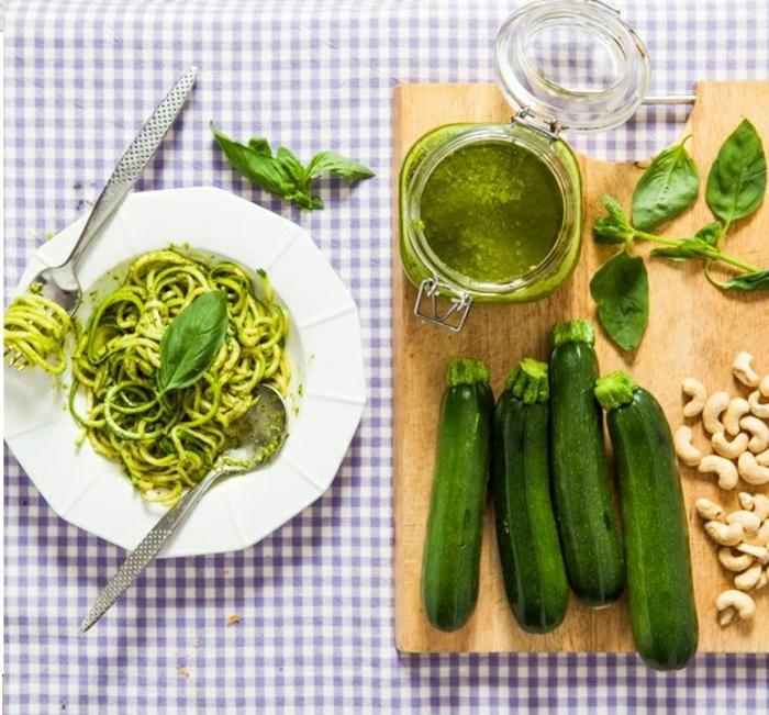 zucchini salat rezepte zucchini spaghetti mit pesto
