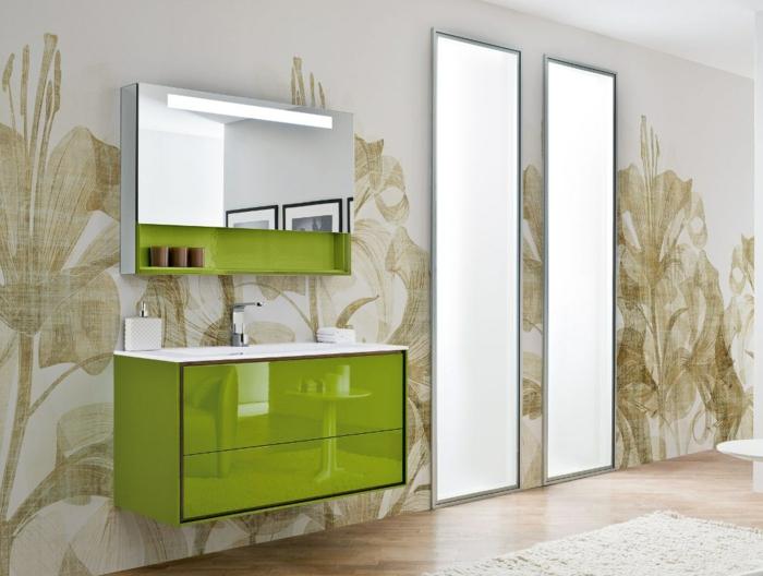 Badezimmer Spiegel Beleuchtung viereck limmete grün