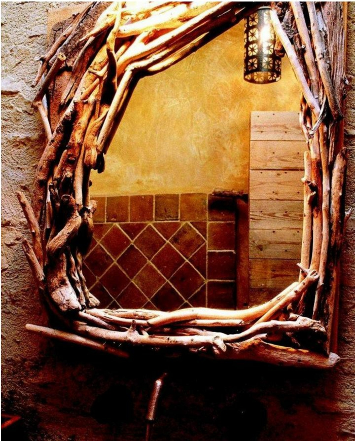 Badezimmer Spiegel Ideen Weiss Holz Natur Stil