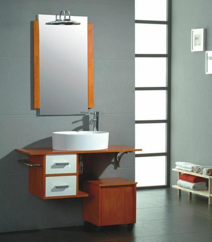 Badezimmer Spiegel Ideen Weiss Holz