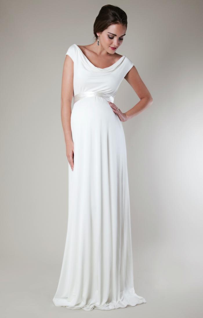 Brautkleid für Schwangere tailliert band