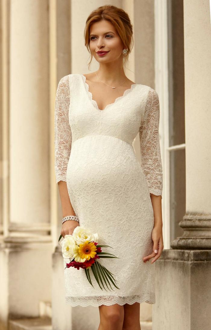 Brautkleider für Schwangere tailliert dehnbar