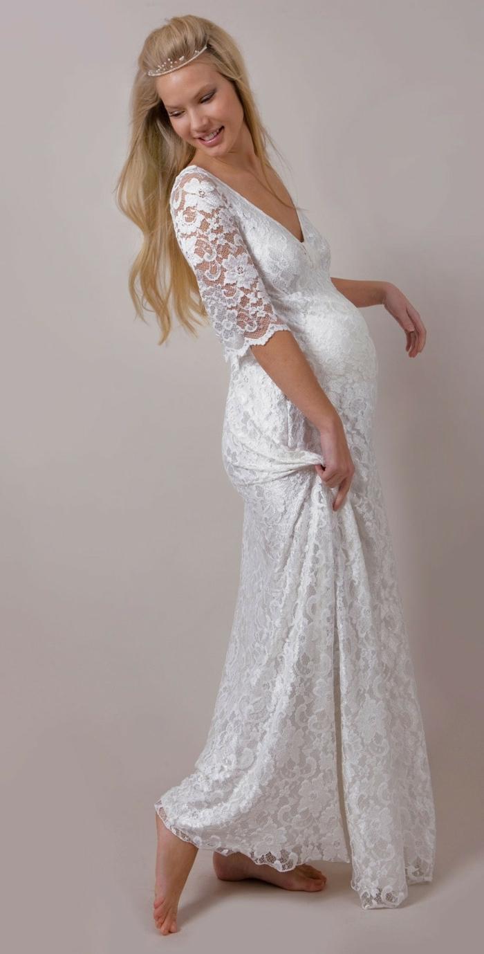 Brautkleid für Schwangere tailliert elastische spitze