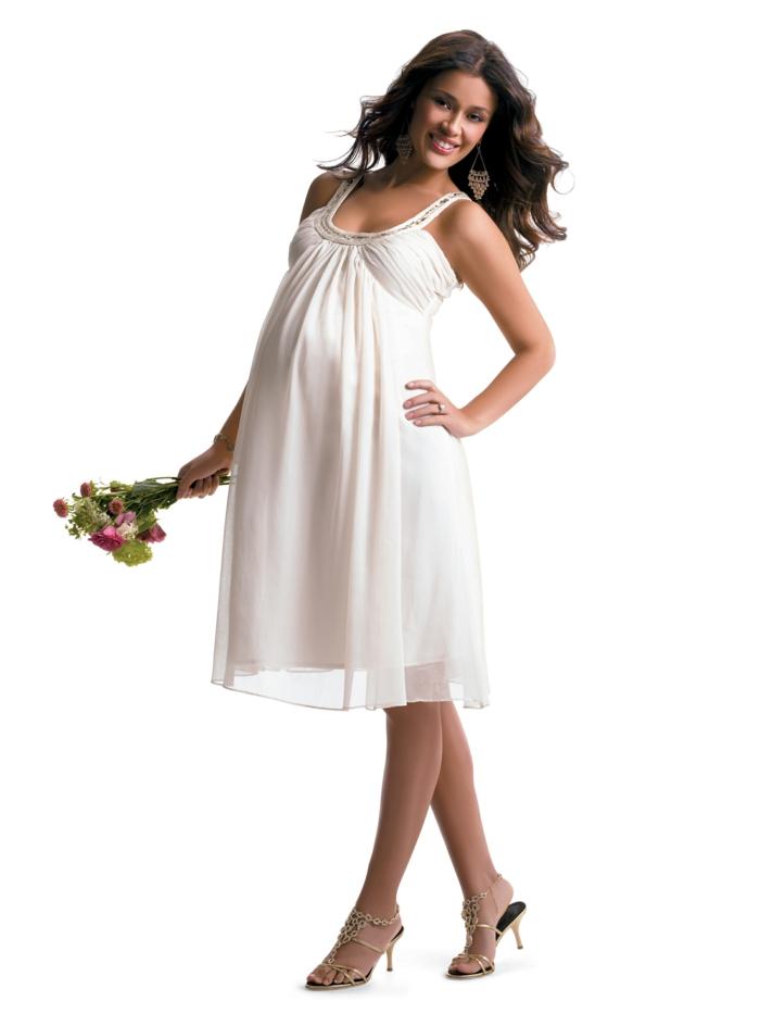 Brautkleider für Schwangere tailliert schnur dehnbar