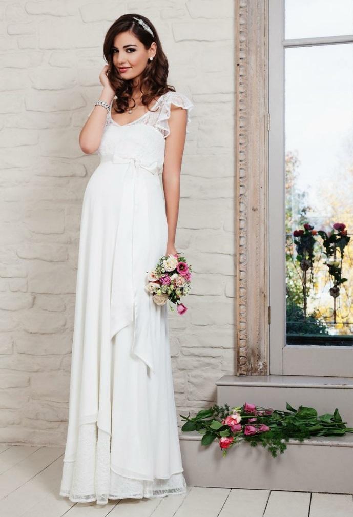 Brautkleid für Schwangere tailliert volans