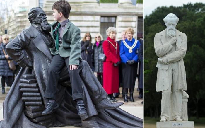 Charles Dickens statue bild mit kind prominews