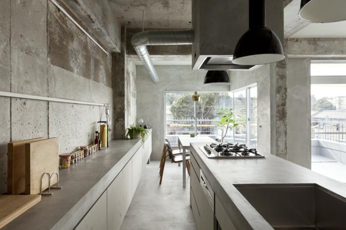 Concrete apartment nagoya japan beton look industrial möbel küchenideen