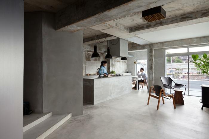 Concrete apartment nagoya japan beton look industrial möbel