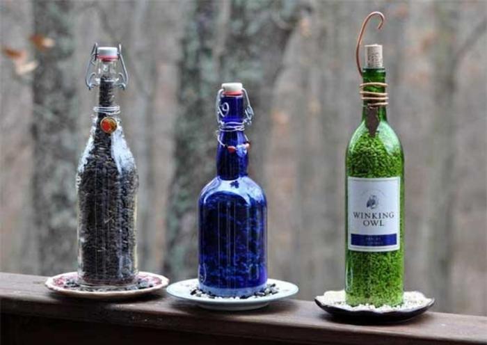 DIY ideen mit glasflaschen bastelideen fenster deko machen