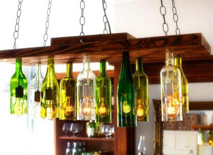 DIY Deko mit glasflaschen bastelideen kronleuchter aus weinflaschen
