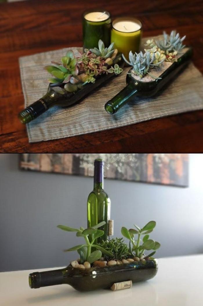 DIY ideen mit glasflaschen bastelideen sukkulenten einpflanzen