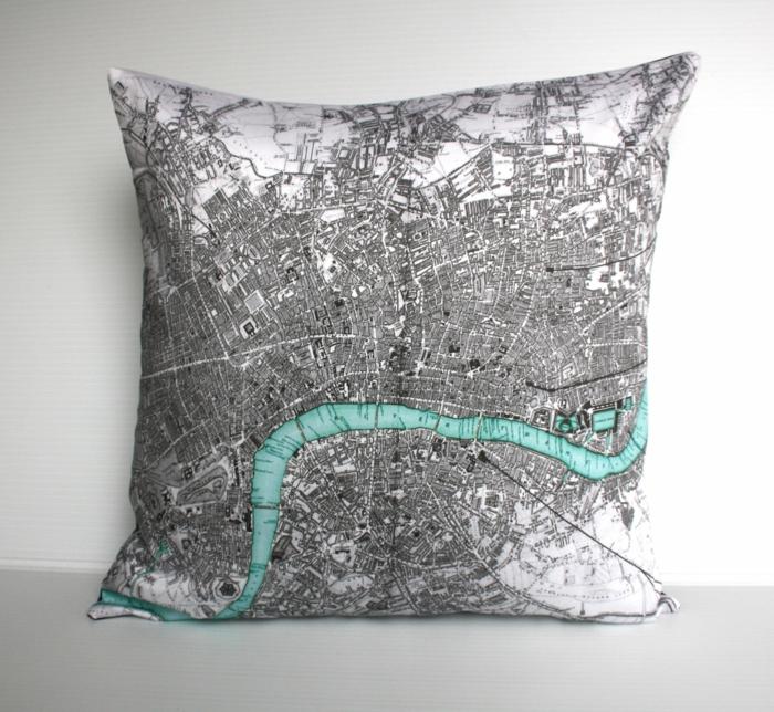 Design Interior Kissen weltatlas karte London