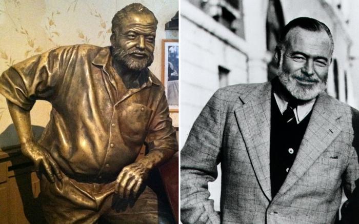 Ernest Hemingway statue und bild prominews