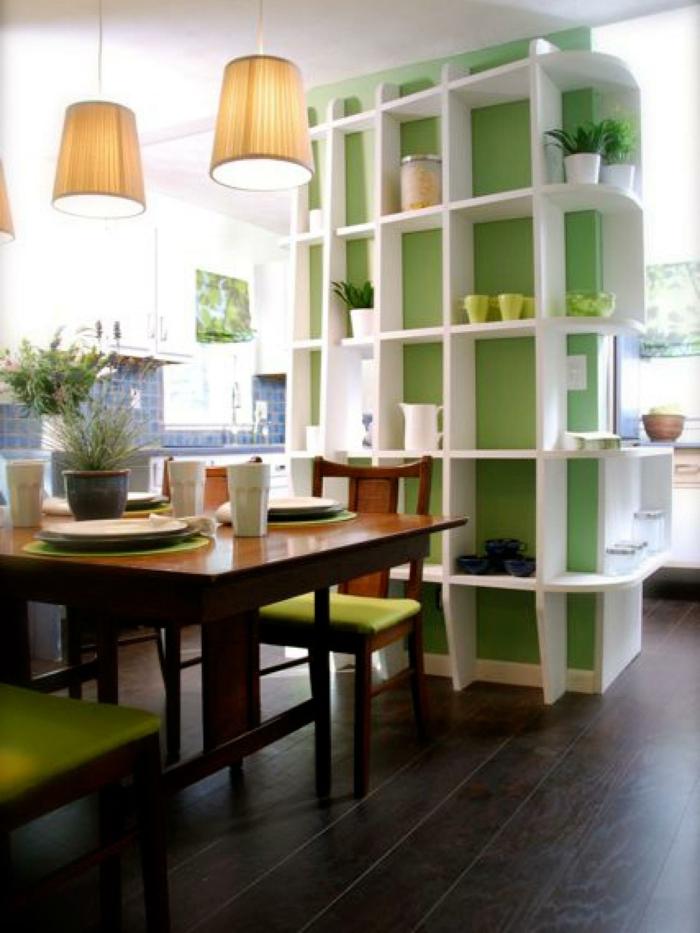 platzsparende Möbel Esszimmer modern Wohnküche Esszimmermöbel an der wand regal