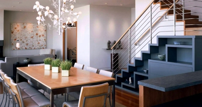 platzsparende Möbel Esszimmer modern Wohnküche Esszimmermöbel untertisch treppe kombi