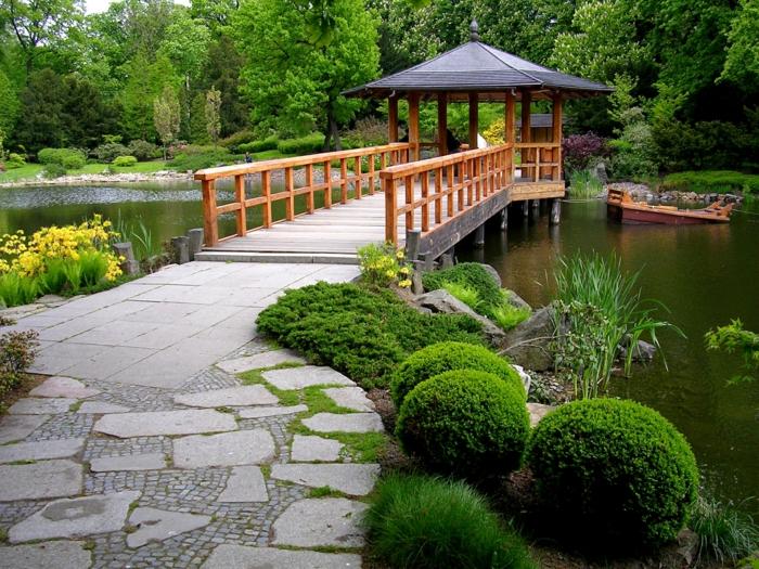 Gartengestaltung Beispiele Feng Shui Garten brücke im garten