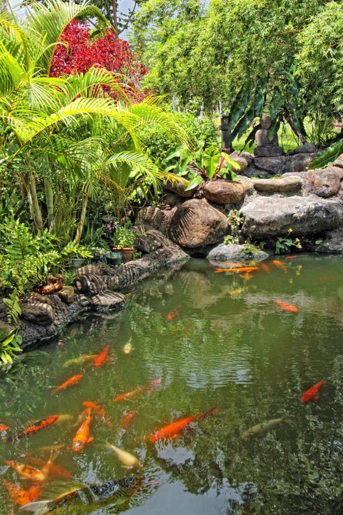 Gartengestaltung Beispiele Feng Shui Garten vier goldfische