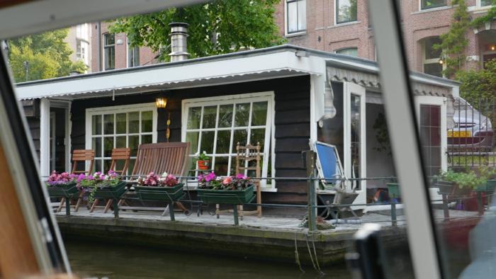 Hausboot Amsterdam von Innen terrasse