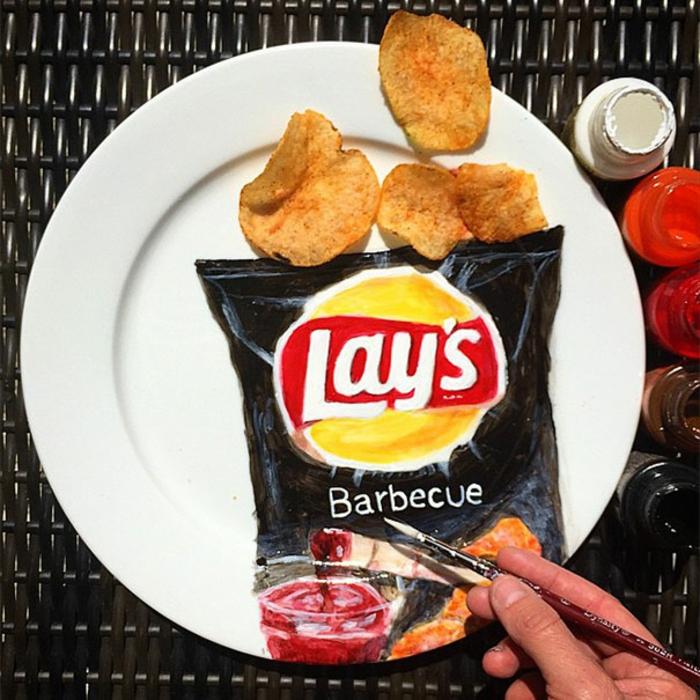 Jacqueline Poirier plart teller porzellan bemalen lays chips