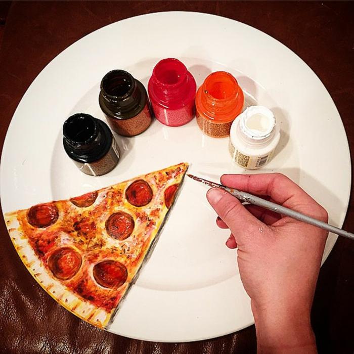 Jacqueline Poirier plart teller porzellan farbe pizzastück bemalen
