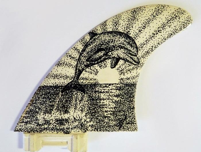 Jarryn Dower Art&Design altes surfbrett bemalen delfine