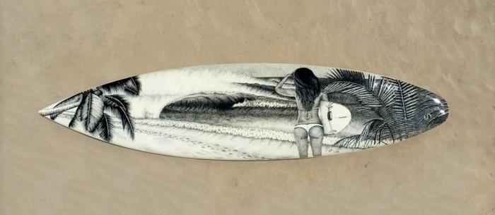 Jarryn Dower Art&Design altes surfbrett bemalen frau