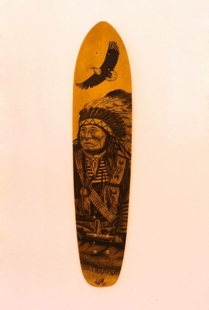 Jarryn Dower Art&Design altes surfbrett bemalen indianer