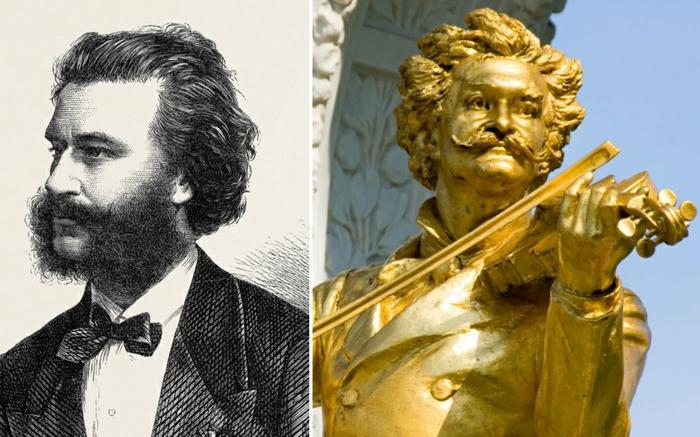 Johann Strauss statue vergoldet prominews