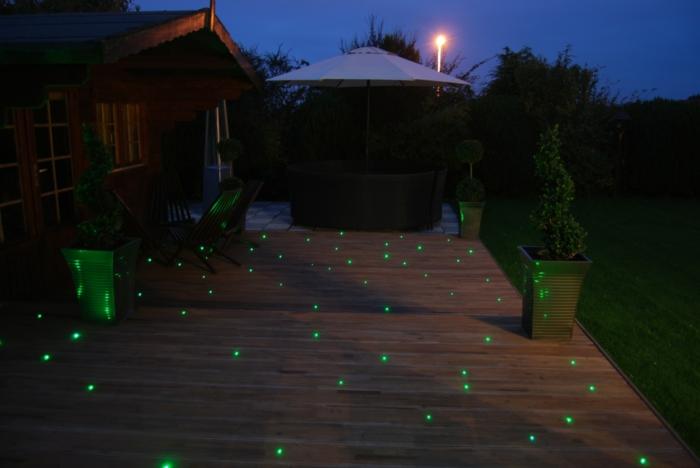 LED Beleuchtung Garten grün