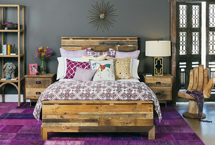 Schlafzimmer Design holz lila
