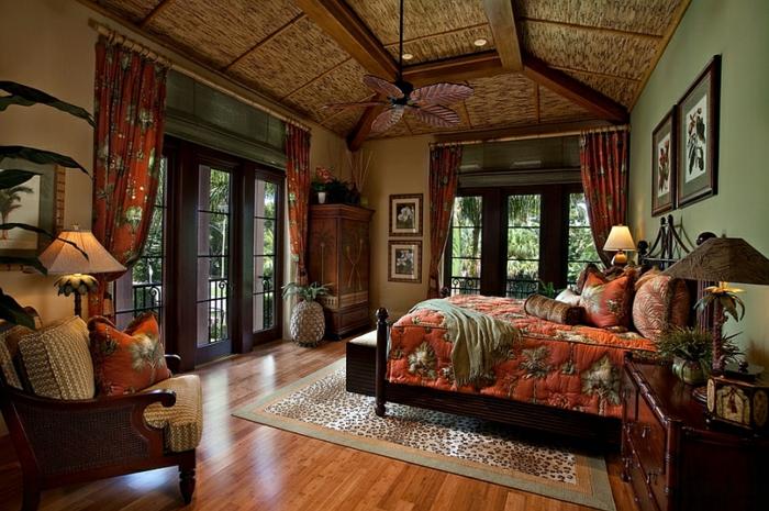 Schlafzimmer Design marokko überlagerung dunkel holz stroh