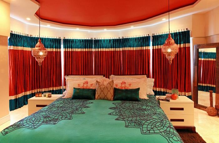 Schlafzimmer Design rot petrol grün